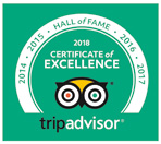 Tripadvisor 2018 certificate of excellence.